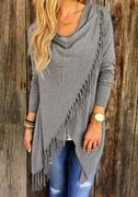 Tassel Solid Color Irregular Fringe Shawl