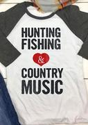 HUNTING Letter Printed Splicing T-Shirt
