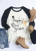 Happy New Years 2017 Printed Splicing O-Neck T-Shirt