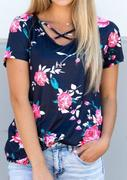 Floral Criss-Cross V-Neck Blouse without Necklace