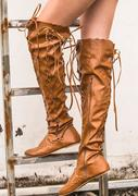 Solid Lace Up Knee-Length Flat Boots