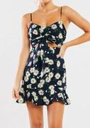 Floral Ruffled Mini Dress - Navy Blue