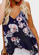 Floral Button V-Neck Camisole - Navy Blue