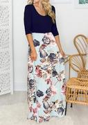 Floral Pocket Maxi Dress - Navy Blue
