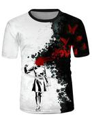 Ink Drawing Graphic Causal Short Sleeve T Shirt