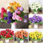 1 Bunch 9 Heads Artificial Silk Hydrangea Posy Wedding Flower Bouquet Home Decor
