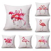 Flamingo Print Cotton Linen Throw Pillow Case Cushion Cover