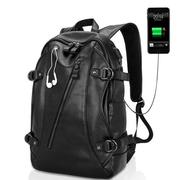 PU Leather Backpack Casual Travel Waterproof External USB Charge Laptop Bag For Men