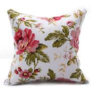 Canvas Peony Floral Throw Pillow Case Cushion Cover