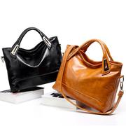 Oil Wax Leather Women Elegant Handbag Tote Bag Square Shoulder Bag Genuine Leather Crossbody Bag