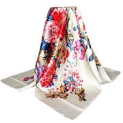 "35""*35"" Women Beige Vintage Flower Printed Silk-Satin Square Head Scarf"