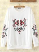 Casual Embroidery Loose Sweatshirt