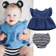 Denim Baby Girls Clothing Set