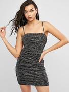 Sequined Glitter Ruched Bodycon Dress