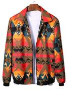 Geometric Graphic Print Rib-knit Trim Jacket