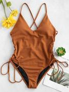 Lace-up Cross High Cut Swimsuit