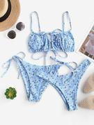 ZAFUL Ditsy Print Cutout High Leg Three Piece Bikini Swimwear