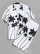Coconut Palm Print Hawaii Shirt and Beach Shorts