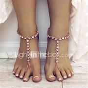 Women's Barefoot Sandals Drop Ladies Fashion Yoga Anklet Jewelry Gold / Silver For Daily Casual / Rhinestone
