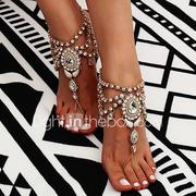 Women's Tassel Barefoot Sandals Flower Ladies Bohemian Fashion Boho Indian Anklet Jewelry Gold / Silver For Daily Casual Cosplay Costumes / Rhinestone