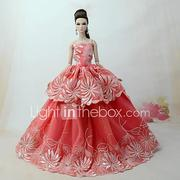 Dresses Dress For Barbiedoll Orange red Tulle / Lace / Silk / Cotton Blend Dress For Girl's Doll Toy