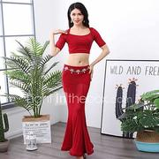 Belly Dance Outfits Women's Performance Chinlon / Elastane Ruching Short Sleeve Dropped Skirts / Top