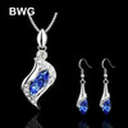 BWG Fashion Jewelry Jewelry Set Necklace Pendant Drop Earring Blue Crystal Silver Plated Jewelry Set For Women JS15