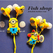 Free Shipping Animated cartoon headphones god steal dads yellow in-ear headphones wholesale