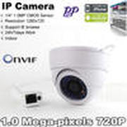 Free shipping 1.0Megapixel 3.6mm HD Onvif IR-Cut  P2P Function Security Network IP Dome Cameras