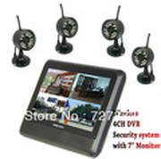"Wireless 4CH Quad DVR Home security system 4 Cameras with 7"" TFT-LCD Monitor +free shipping"